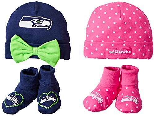 Gerber Childrenswear Dots 4 Pack Cap & Bootie Set, Seatle Seahawks, 0-6 Months, Pink