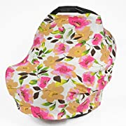 Nursing Breastfeeding Cover Scarf With Floral Watercolour Design for Baby Girls, Infant Car Seat Cover, Grocery - Shopping Cart Cover, 5 in 1 Multi Use Stretchy Canopy by Gufix