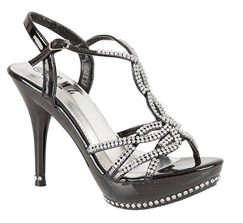 Chic Feet Party Diamante Evening Wedding Bridal Prom High Heel Sandals Black