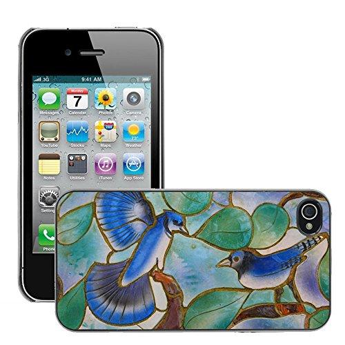 Bild Hart Handy Schwarz Schutz Case Cover Schale Etui // M00134434 Glaskunstfenster Vögel Blaue Mosaik // Apple iPhone 4 4S 4G
