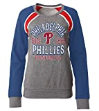 MLB Philadelphia Phillies Women's French Terry Crew Neck Sweatshirt with Contrasting Sleeves, Gray, Small