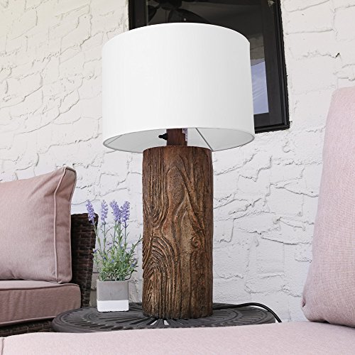 Sunnydaze Indoor/Outdoor Weather Resistant Table Lamp, Nature-Inspired Log Polyresin (Log Lamp)