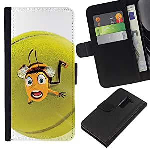 [Neutron-Star] Modelo colorido cuero de la carpeta del tirón del caso cubierta piel Holster Funda protecció Para LG G2 D800 [Cute Funny Tennis Ball Bee]