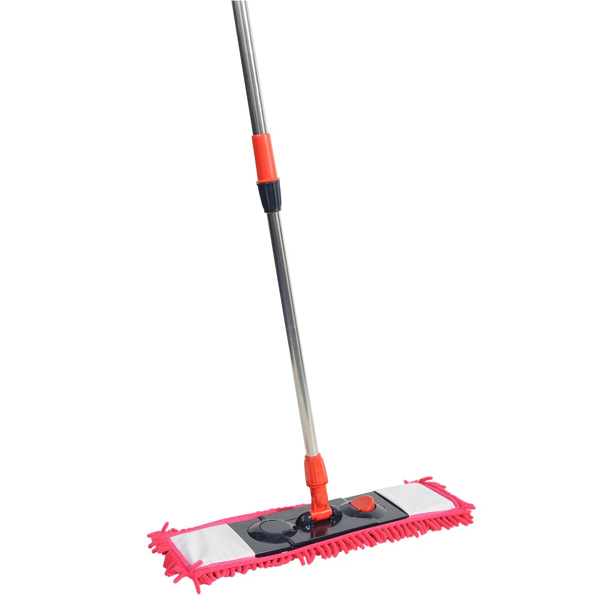 NFHOME 24'' Chenille Flip Floor Mop, Microfiber Flat Mop with Telescopic Pole Height Max 50'' for Wet and Dry Wood, House Kitchen Hardwood Ceramic Tile Floor Cleaning, Red