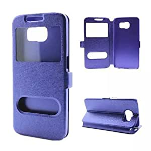 Leather Samsung Galaxy S6 Edge Case,S6 Edge Case,Galaxy S6 Edge Cases,Galaxy S6 Edge Leather,Samsung S6 Edge Leather Cases,Addigital Two Windows Design Leather Case Cover For Samsung Galaxy S6 Edge Purple