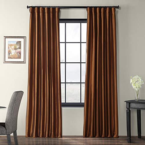 Half Price Drapes PTCH-JTSP209-84 Faux Silk Taffeta Curtain, Copper Brown (Brown Silk Curtains)