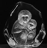 Mats Jonasson Crystal Macaque wih child Monkey Ape (Large)