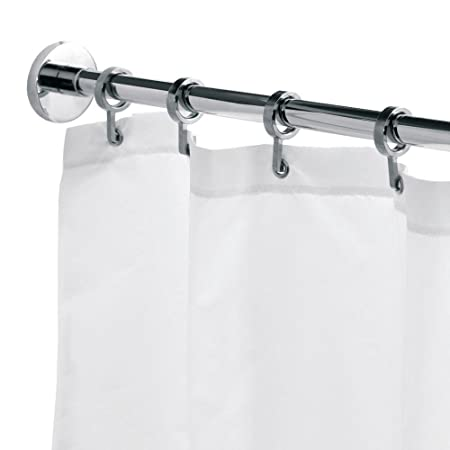 Round 250cm Max Shower Rod With Curtain Hooks Amazoncouk DIY Tools