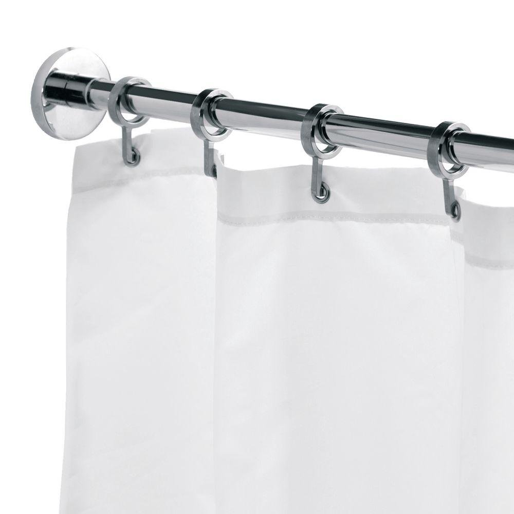Croydex Luxury Round Chrome Aluminum Round Shower Curtain Rod with Curtain Hooks, 98 In.