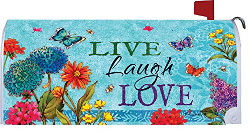 Live Laugh Love   Mailbox Makover Cover   Vinyl Witn Magnetic Strips For Steel Standard Rural Mailbox   Copyright  Licensed And Trademarked By Custom Decor Inc