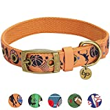 Blueberry Pet 5 Patterns Durable Sports Fan Basketball Canvas Dog Collar with Metal Buckle in Passion Orange - Large - Neck 17-20.5