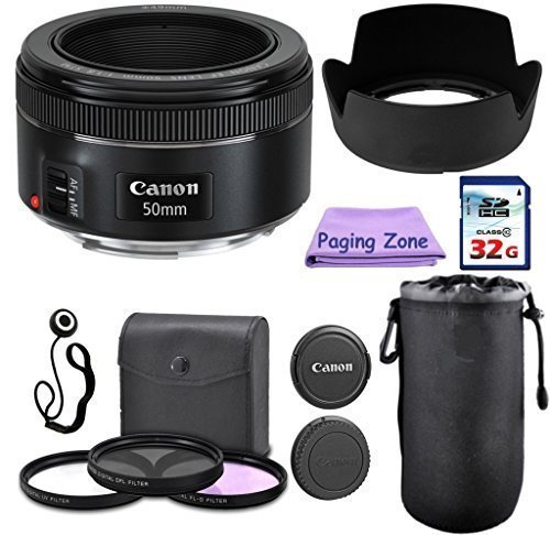 Canon 50mm f/1.8 STM Camera Fixed Lens. PagingZone Deluxe Kit Includes, 3Piece Filter Set + Lens Case + Lens Hood...