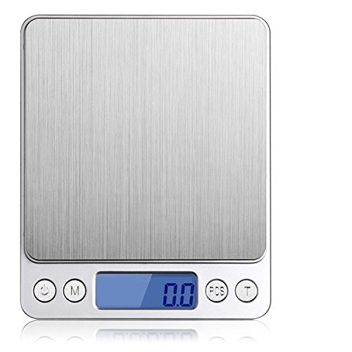 Leiking Mini Digital Kitchen Scale Travel Size Food Scale 0.1g-3Kg with Tare Function- Stainless