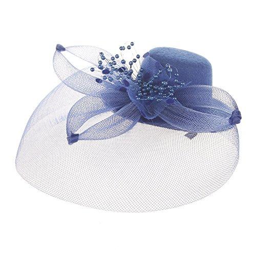 shion Women's Fascinator Net Bow Tie Mesh Hat Caps Cocktail Party Headdress Wedding for Ladies Women Blue ()