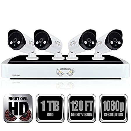Night Owl Security Full 1080p Network Video Recorder with 1TB HDD and 4  Night Vision 1080p HD IP Cameras