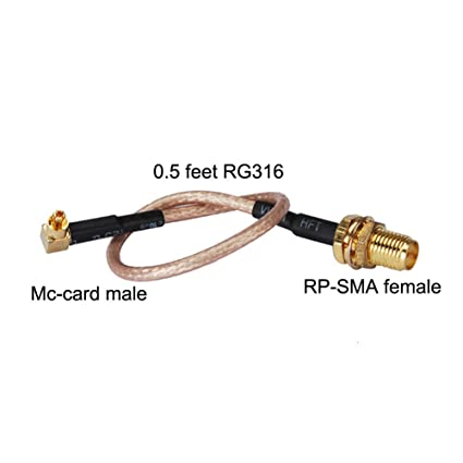 PC-CASE 0.5FT Rf Mc-card Male RA to Rp-sma Female