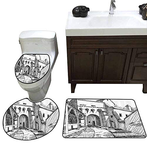 3 Piece Toilet mat Set Medieval Decor Collection Medieval Citadel Sketch House of Legendary Vampire Dracula Old Mystical Tales Art Work Elongated Toilet Lid Cover Set Black White