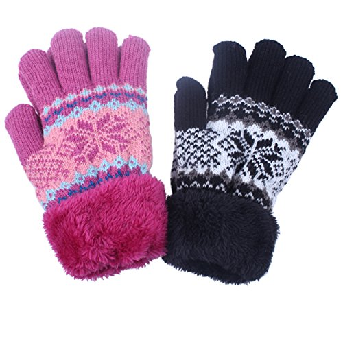 2Pairs Warm Winter Gloves Mittens With Full Cozy Fleece Lining Snowflake Design For Kids Girl Boy (Girls Gloves Winter)