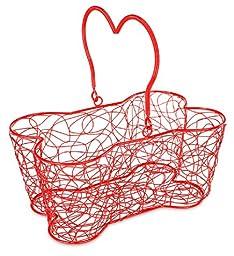 Buddy\'s Line Multi-Purpose Bone-Shaped Wire Basket, 14-Inch, Red