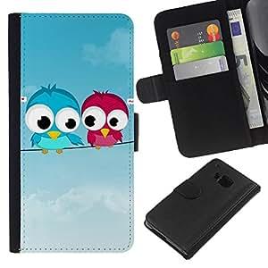 All Phone Most Case / Oferta Especial Cáscara Funda de cuero Monedero Cubierta de proteccion Caso / Wallet Case for HTC One M9 // Cute Love Birds