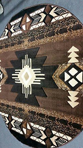 Southwest Native American Round Indian Area Rug Chocolate Brown Design C318 (5 Feet X 5 Feet Round)