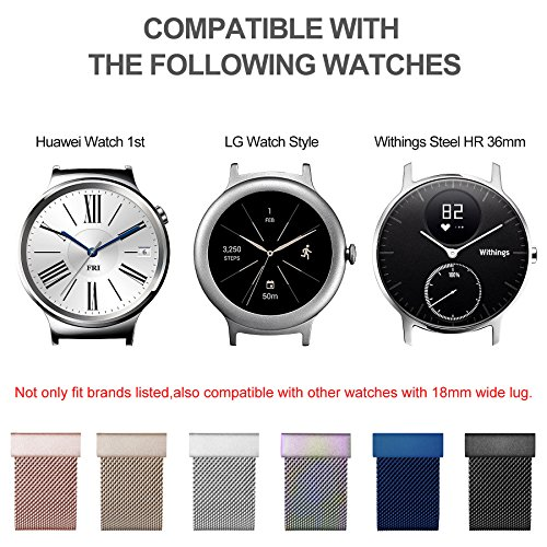 Huawei Watch Band, Fullmosa 18mm Watch Strap with Quick Release Pins for Asus Zenwatch 2/LG Watch Style/Withings Activité/Steel HR 36mm Bracelet Milanese Watch Bands for Men Women, Black by Fullmosa (Image #3)