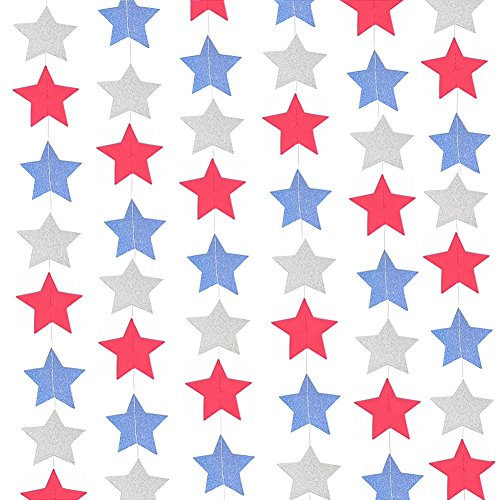 Patriotic Stars Backdrop (26 ft Twinkle Stars Glitter Paper Garlands White Blue Red National Day Patriotic Activities 4th of July Hanging Decorations Wedding Favors Birthday Baby Shower Party Decorations)