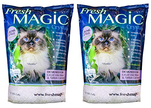 FreshMAGIC Large Chunk Style Low-Dust Crystal Cat Litter, 8 lb. Bag, White Crystals, 2-Pack (Crystals Litter Cat)