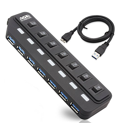 AllSmartLife® USB 3.0 Hub 7 Super Speed USB Ports with Individual Power Switch + LED Indicator/Light+ 1 External Charging Port + 1 USB Micro B Port for PC Tablet Keyboard - Black