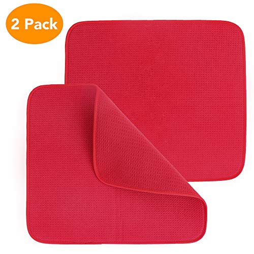 Restlandee Dish Drying Mats for Kitchen Counter, 2PCS Microfiber Drying Mat, 18