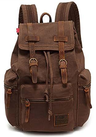 EcoCity Vintage Canvas Backpack Hiking Rucksack Casual Daypacks BP0030C2(Coffee)