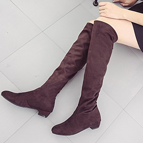Tenworld Women's Over the Knee Slouchy Boots Faux Suede Thigh High Riding Boot (5.5, - Celebs Sunglasses