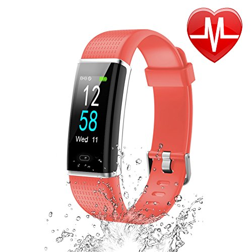 Letsfit Waterproof Fitness Tracker with Heart Rate Monitor, Color Screen Fitness Watch, Smart Bracelet with Sleep Monitor, Step Counter, Pedometer Watch for Kids Women and Men, 0.96 Screen, Red
