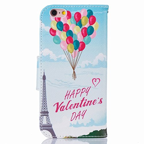 Yiizy Apple IPhone 6s Plus / IPhone 6 Plus Funda, Torre De Transmisión y Globos Diseño Solapa Flip Billetera Carcasa Tapa Estuches Premium PU Cuero Cover Cáscara Bumper Protector Slim Piel Shell Case