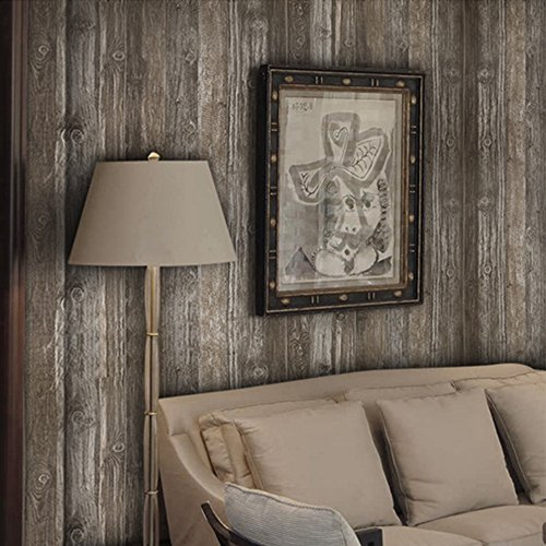 FANFEI Self-Adhesive Wood Wallpaper, Dark Wood Pattern Peel and Stick Removable Wall Sticker, 21.3inches x 16.4 feet (Dark wood) by FANFEI (Image #8)