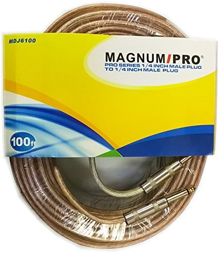 MAGNUM PRO MDJ6100 PRO Series 100 ft 1/4 Inch Male Plug to 1/4 Inch Male Plug Cable