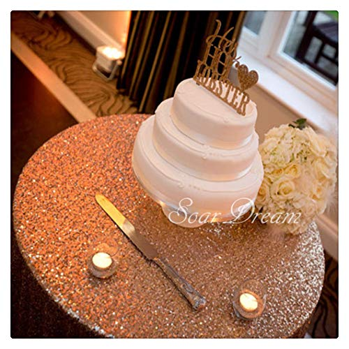 SoarDream Rose Gold Sparkly Sequin Tablecloth for Party/Wedding tablecloths Ceremony, 50 Inch Round for $<!--$14.80-->