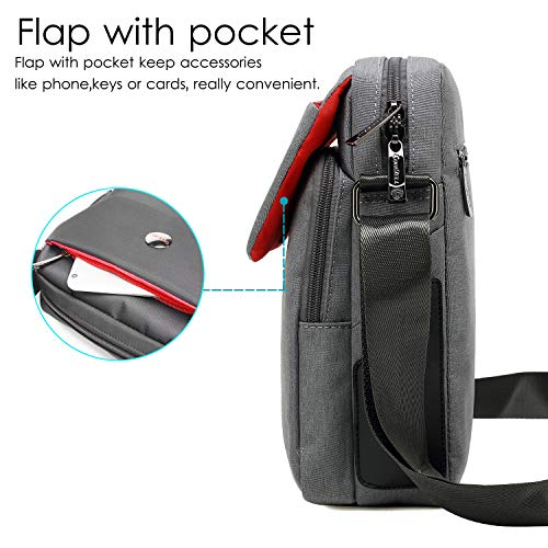 CoolBELL 10.6 inches Shoulder Bag Fabric Messenger Bag iPad Carrying case Hand Bag Tablet Briefcase Waterproof Oxford Cloth Laptop Computer Shoulder Bag for iPad/Men/Women/College/Teen,Grey
