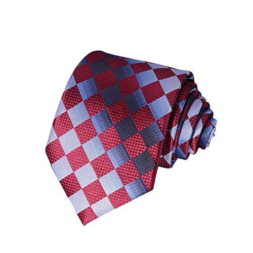 (AVANTMEN Classic Plaid Striped Necktie for Men Tie + Gift Box (Plaid Tie_Burgundy Silver Blue))