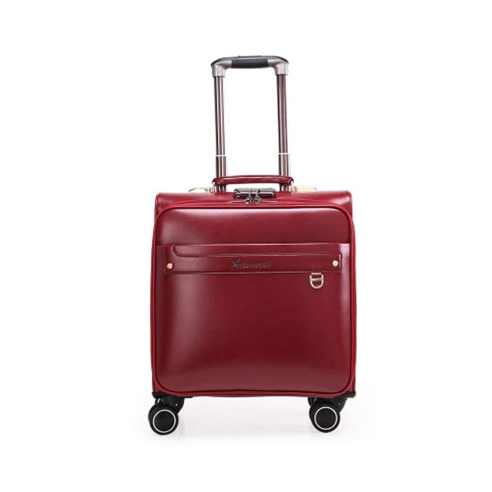 20Inミニビジネススーツケース PU皮質 男性と女性の国際旅行のためのパスワードロック式耐久性のあるトロリーケース付き軽量スーツケース,Burgundy B07KK9Q3NW burgundy