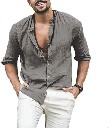Camisas de Cuello Alto de Moda para Hombres Camisas de Manga Larga de Color sólido: Amazon.es: Ropa y accesorios