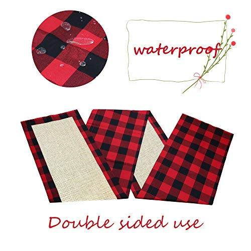O-heart Cotton Burlap Buffalo Plaid Table Runner, Waterproof Double Sided Tablerunners for Family Dinners, Indoor or Outdoor Parties, Everyday Use, Red and Black, 14x108 inch ()