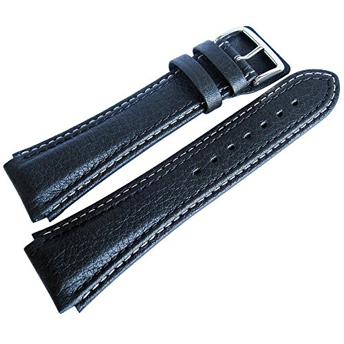 Di-Modell Pilot 20mm Long Black Leather Watch Strap by Di-Modell