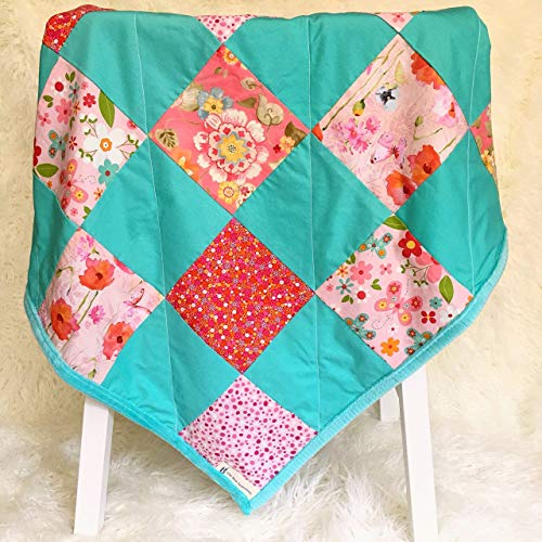 Patchwork Shower Baby - Baby Girl Blanket with Minky Handmade Quilt Shower Gift for New Mom