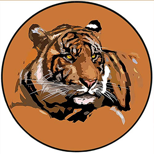 (Short Plush Modern Round Carpet mat Collection Illustration of Exotic Tiger with Retro Colors Hunter African Wild Nature Icon Brown Orange Bedroom Bedside Kitchen Bedroom 47.2
