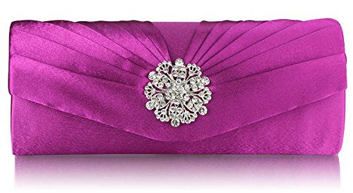 Ladies New Party Bag Handbags Satin Wedding Evening Prom 1 Crystal Design Design Pleated Women Purple Floral Clutch 7xw7HrTn