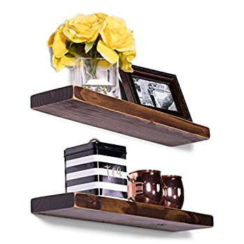 "DAKODA LOVE Weathered Edge Floating Shelves, USA Handmade, Clear Coat Finish, 100% Countersunk Hidden Floating Shelf Brackets, Beautiful Grain Pine Wood Rustic Wall Decor (Set of 2) (24"", Espresso)"
