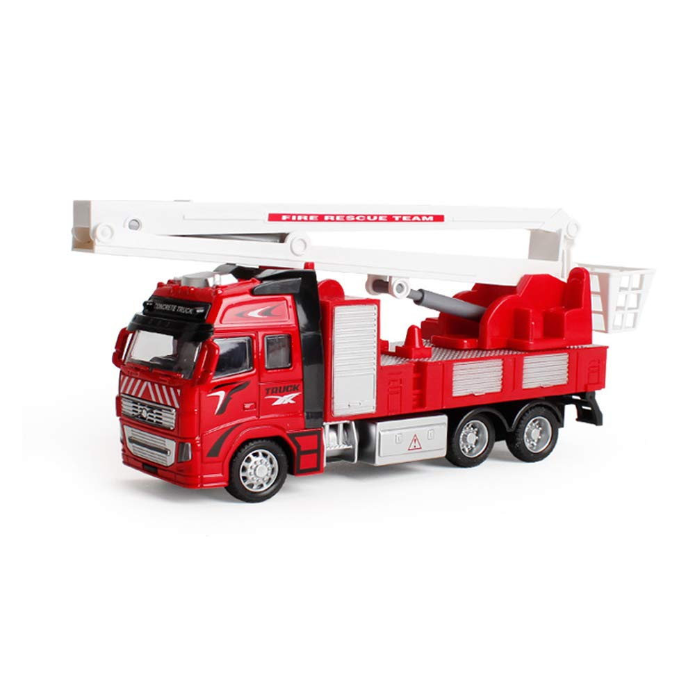 Engine Fire Truck 1:38 Big Size With Gift Box for Kids Toddler JEJA Metal Die-cast Pull Back Sliding Alloy Municipal Engineering Construction Vehicles Cars Toy