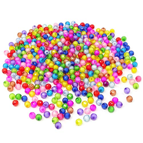 Honbay 500PCS Assorted Color Transparent Acrylic Beads Faceted Round Spacer Beads ()