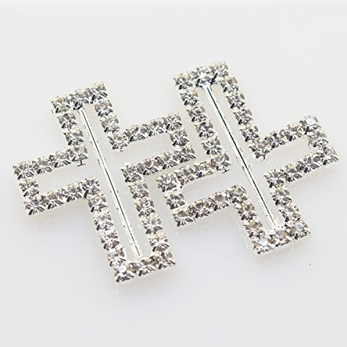 xinxi New 10pcs 1.33 inch 1.1 inch Cross shaped crystal rhinestone buttons Invitation Ribbon Slider for Ribbons Wedding Supply Gift Wrap Hairbow Center